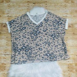 NWOT Sew in Love taupe cheetah print top